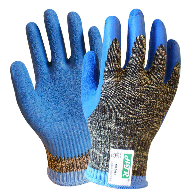 Aramid Fiber Cut Proof Work Glove Steel Gloves Latex Coated En388 5 Grade Anti Cut Safey Gloves