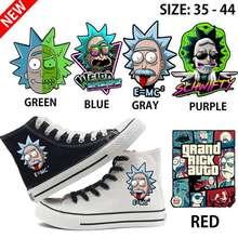 цена Rick and Morty Print Cartoon High Top Breathable Canvas Uppers Sneakers Student Personalise Fashion Sandshoes онлайн в 2017 году
