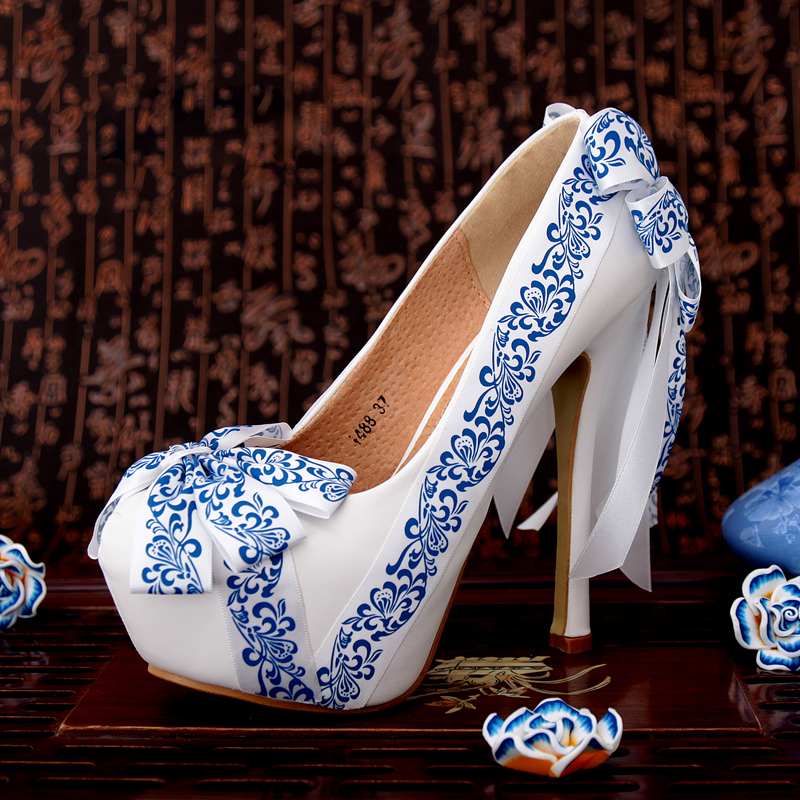 Womens Wedding Shoes Blue And White Porcelain Pattern Ribbon Bow Bridal Party 14cm High Heel Round Toe Shoes Sexy Woman Pumps sequined high heel stilettos wedding bridal pumps shoes womens pointed toe 12cm high heel slip on sequins wedding shoes pumps