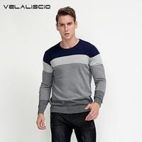 VELALISCIO Brand Men Autumn Winter Patchwork Pullovers Sweater Men Casual Fashion 100 Cotton O Neck Warm