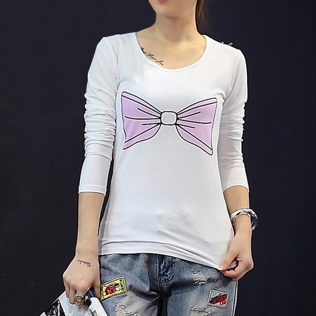 2015 nova moda feminina de manga comprida t-shirt frouxo casual cópia branca o pescoço camisetas de algodão T Shirt mulheres tops