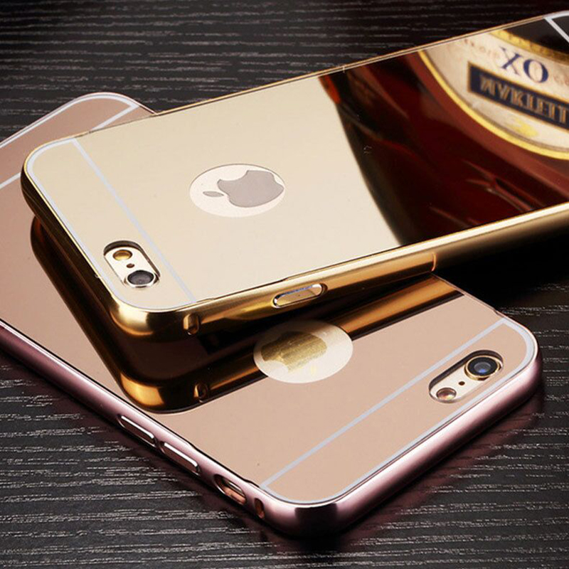 for <font><b>iPhone</b></font> X 10 Mirror <font><b>Case</b></font> <font><b>Luxury</b></font> Plating Aluminum Metal Mirror <font><b>Case</b></font> for <font><b>iPhone</b></font> On 6 6S 7 8 Plus SE 5S 5 4S 4 <font><b>Case</b></font> Cover 8 7 image