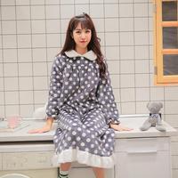 Осень Зима Милый принт толще фланель для сна платье женские длинные рукава Сладкий стиль удобная домашняя одежда ночные рубашки gx1728
