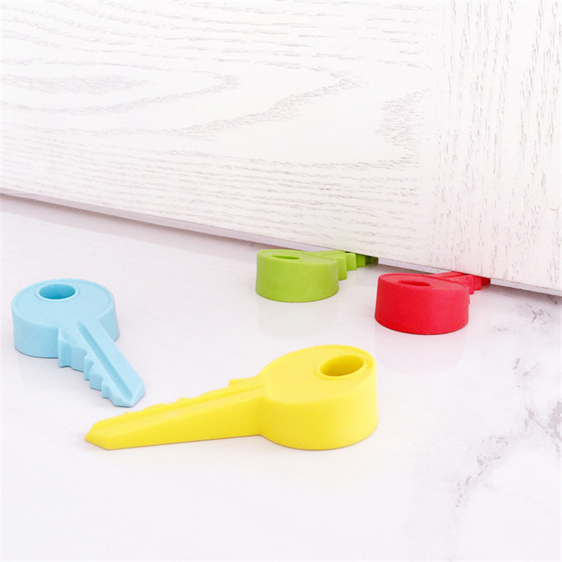 Hot Silicone Rubber Door Stopper Cute Key Style Home Decor Finger Safety Protection Wedge Kid Baby Safe Doorstop DW997558
