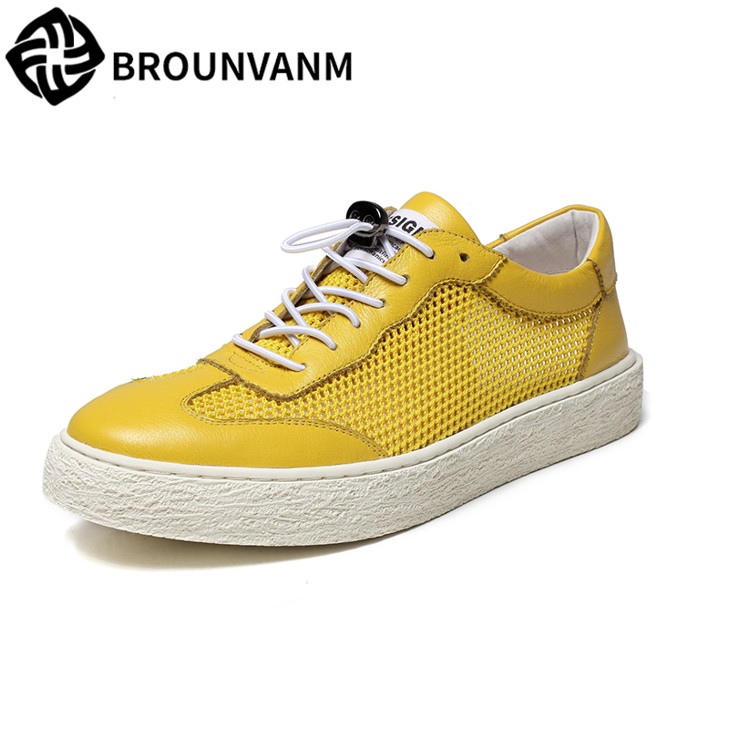 Men's shoes summer breathable 2018 Korean version trend breathable casual shoes men Genuine Leather shoes all-match cowhide цена