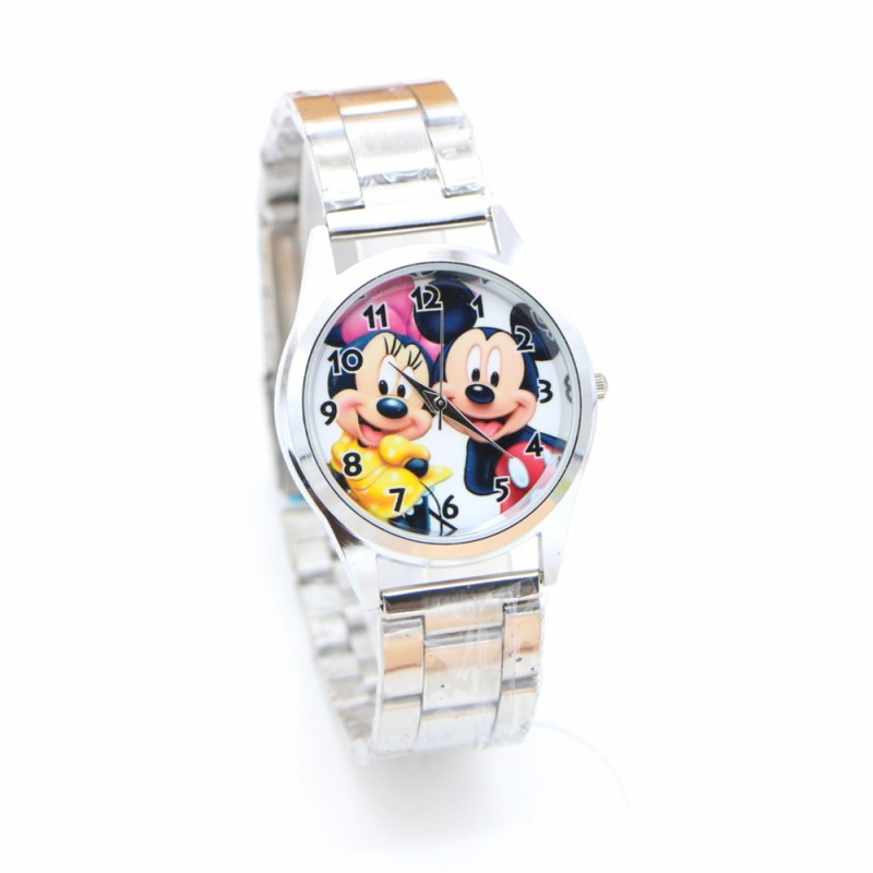 New Ladies Cute Minnie Luxury Watch Full Stainless Steel Fashion Watches Kids Girls Women Wristwatches Clock Relogio Kol Saati