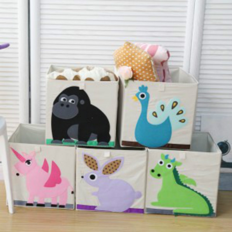 Cartoon Big Storage Box Organic Cotton Toy Clothes Sundries Organizer
