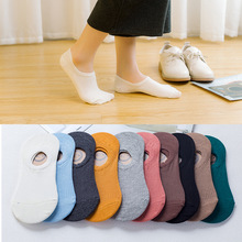 5Pairs Women Socks Non-slip Silicone Invisible Cotton Shallow Mouth Candy Colors Solid color Ankle