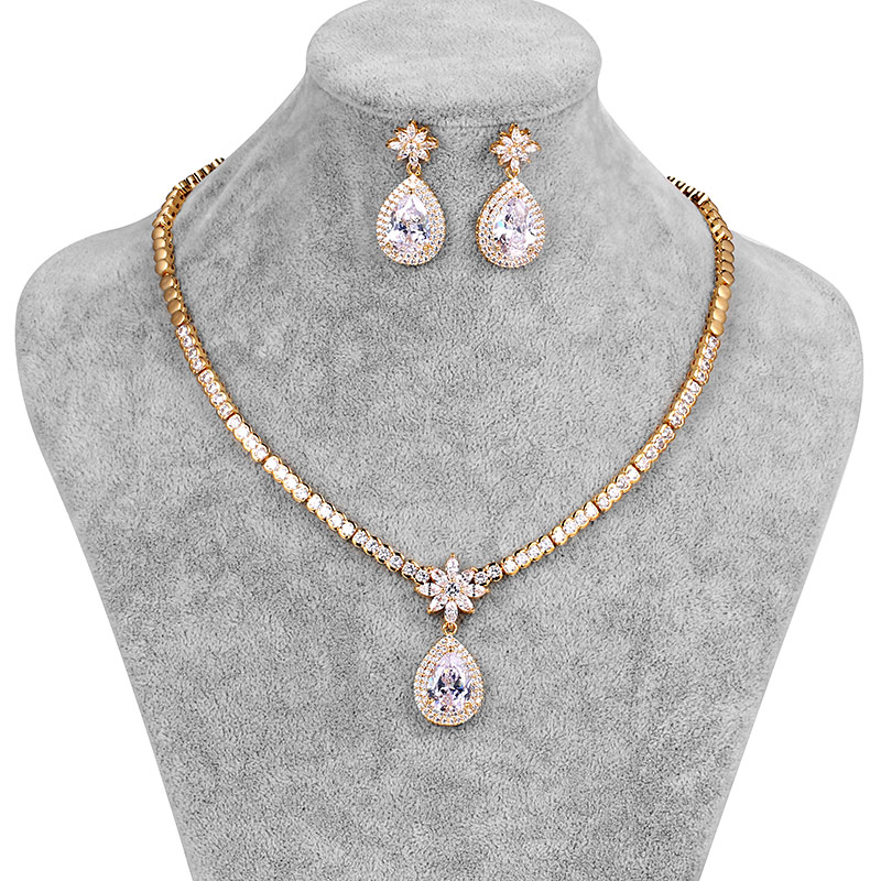 WEIMANJINGDIAN New Arrival Large Pear Drop Cubic Zirconia Necklace & Earring Wedding Jewelry Set for Bride or BridesmaidWEIMANJINGDIAN New Arrival Large Pear Drop Cubic Zirconia Necklace & Earring Wedding Jewelry Set for Bride or Bridesmaid