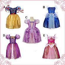 Girls Rapunzel Princess Dresses Kids Girl Cosplay Costume Party Dress Children Cinderella Sleeping Beauty Sofia Clothing T489