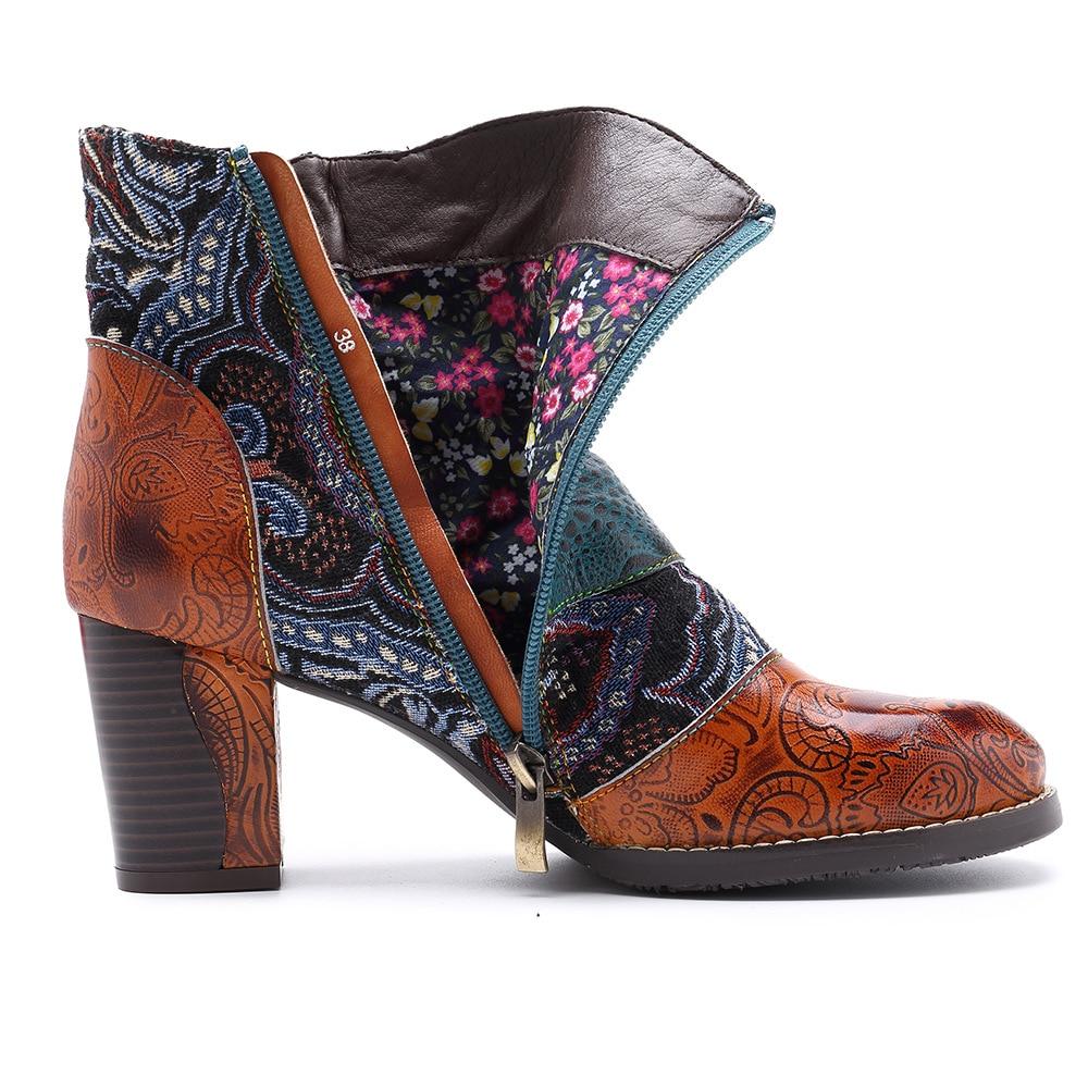 Ayakk.'ten Ayak Bileği Çizmeler'de Johnature Toka Askı 2019 Yeni Hakiki Deri yarım çizmeler Kadınlar için Bahar Sonbahar Bayan Ayakkabıları Kadın Çiçek Bohemia Patik'da  Grup 2
