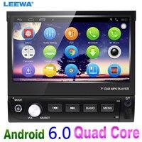 LEEWA 7inch 1DIN In dash Manumotive Ultra Slim Android 6.0 Quad Core Car GPS Bluetooth Navi Radio USB Media Player #CA4106