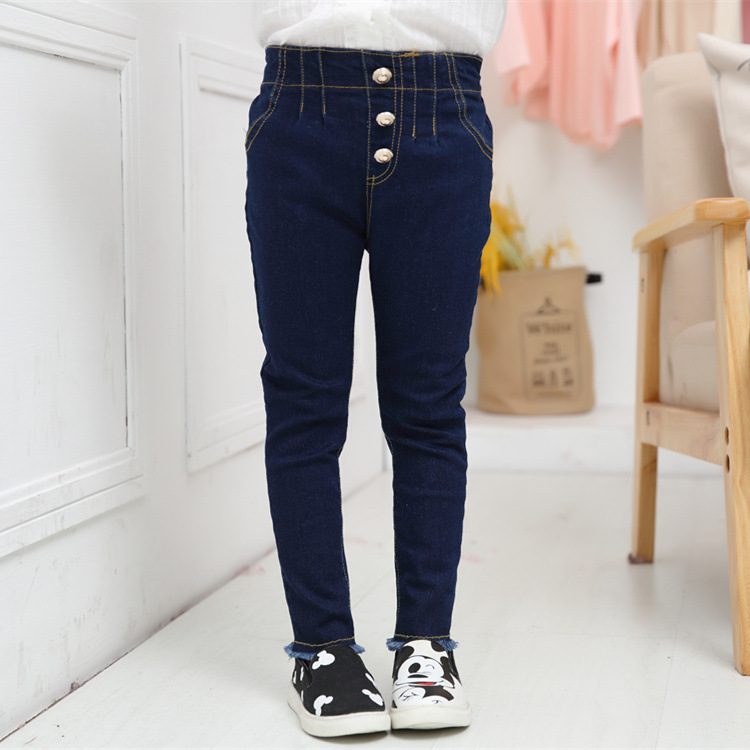 Girls New Plain Denim Jeans Kids Slim Stretch Pants Trousers Age 2 3 4 5 6 7 8 9
