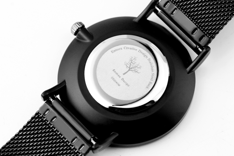 Topdudes.com - Enmex Cool Style Stylish Black and White Stainless Steel Quartz Fashion Wristwatch