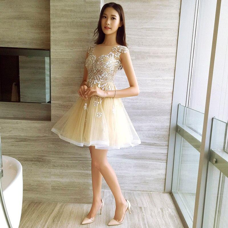 Courte Paillettes Gratuating Col Cocktails 45 Élégante Bal Cérémonie Robes Up Robe Femmes Champagne Gala De Prom 2018 Partie V Pour Date rr7x1Tqw8