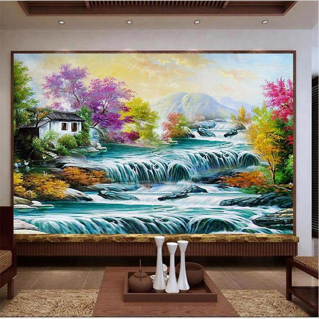 3d papier peint photo papier peint personnalis salon murale cascade chalet printemps paysage. Black Bedroom Furniture Sets. Home Design Ideas