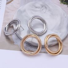 ZA Gold Silver Color Stud Earrings For Women Hollow Round Fashion Bohemia Maxi Statement Earring Retro Vintage Metal Jewelry(China)