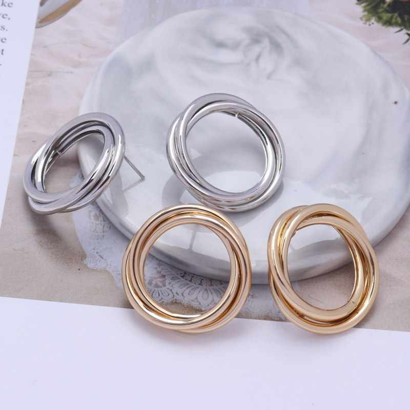 ZA Gold Silver Color Stud Earrings For Women Hollow Round Fashion Bohemia Maxi Statement Earring Retro Vintage Metal Jewelry