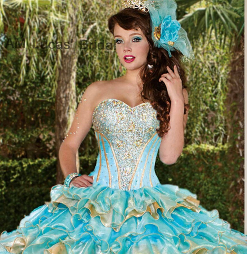 2ff44007070 Ice Blue Gold 2017 Ball Gown Quinceanera Dresses Tiered Ruffles Lace Up For 15  Years Vestido De Debutante Sweet 16 Ball Gowns-in Quinceanera Dresses from  ...