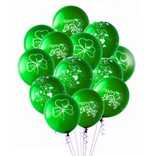 Pack of 15 Happy St Patricks Day Latex Balloons Irish Green Shamrock Inflatable Air Ballons Photo Props Four Leaf Backdrop 12