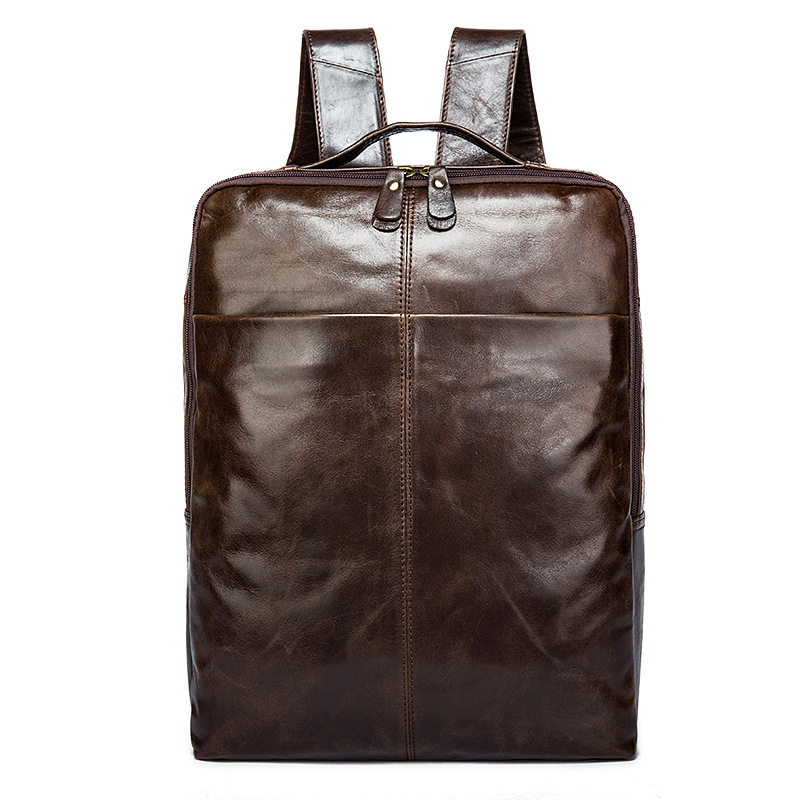 9081 wholesale leather man bag male layer cowhide backpack male computer man Leather Backpack male classic microfiber leather backpack