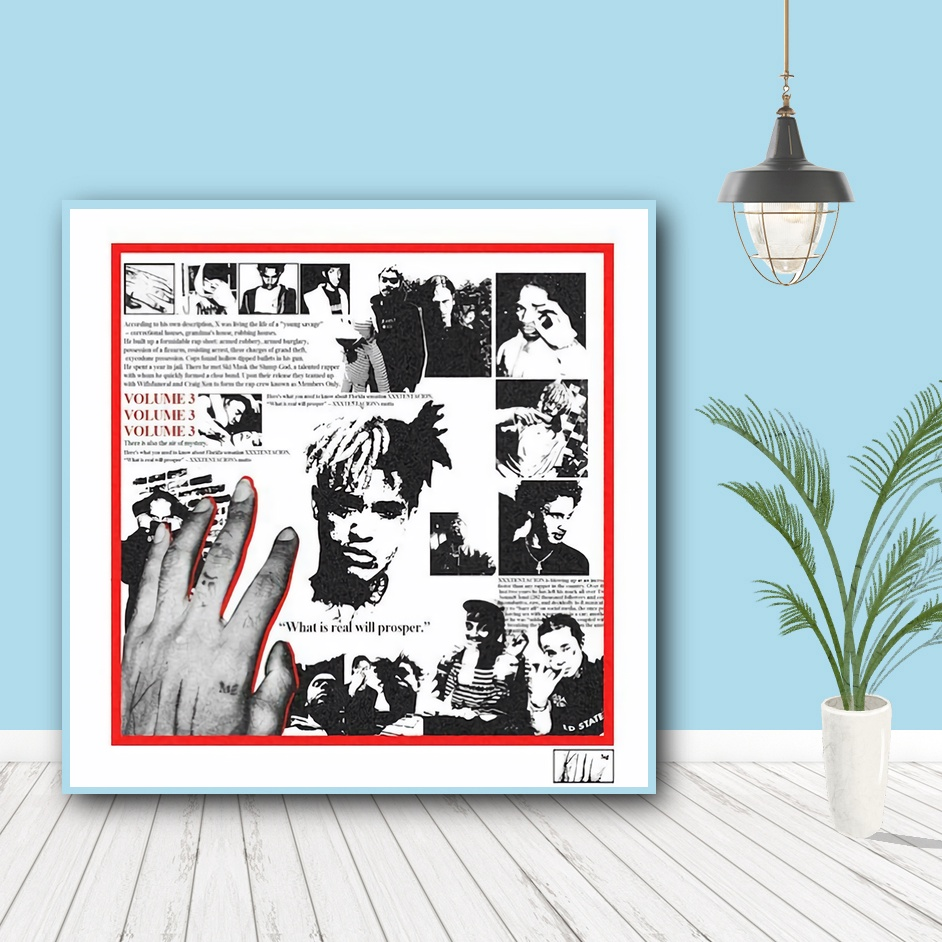 XXXTENTACION Art Fabric Poster Wall Decor HD Print 3 Vol Members Only -