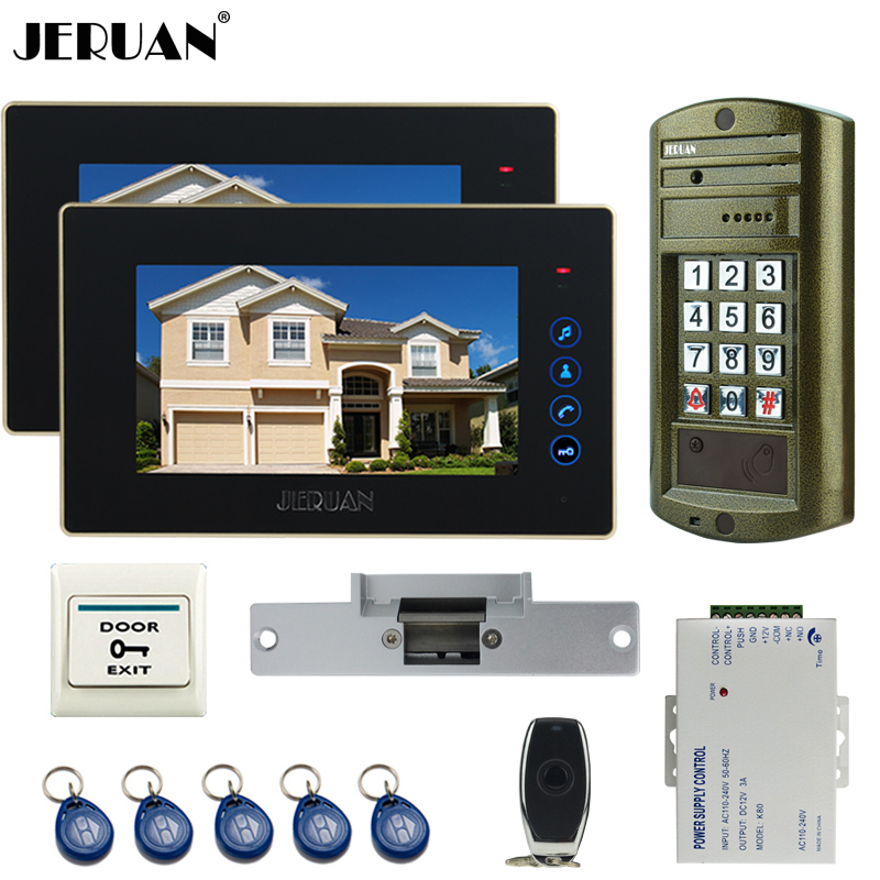 JERUAN Wired 7 inch TFT Video Intercom Door Phone System kit waterproof password keypad HD Mini Camera +Electric Strike lock 1V2 jeruan 8 inch tft video door phone record intercom system new rfid waterproof touch key password keypad camera 8g sd card e lock