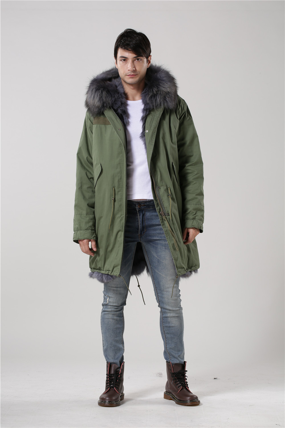 Popular Mens Fur Hooded Army Green Parka-Buy Cheap Mens Fur Hooded
