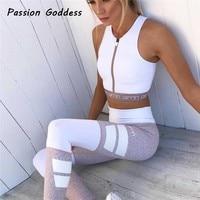 Women S Fitness 2 Piece Suits Crop Tank Leggings Letter Patchwork Workout Tracksuits Set Pencil Trousers