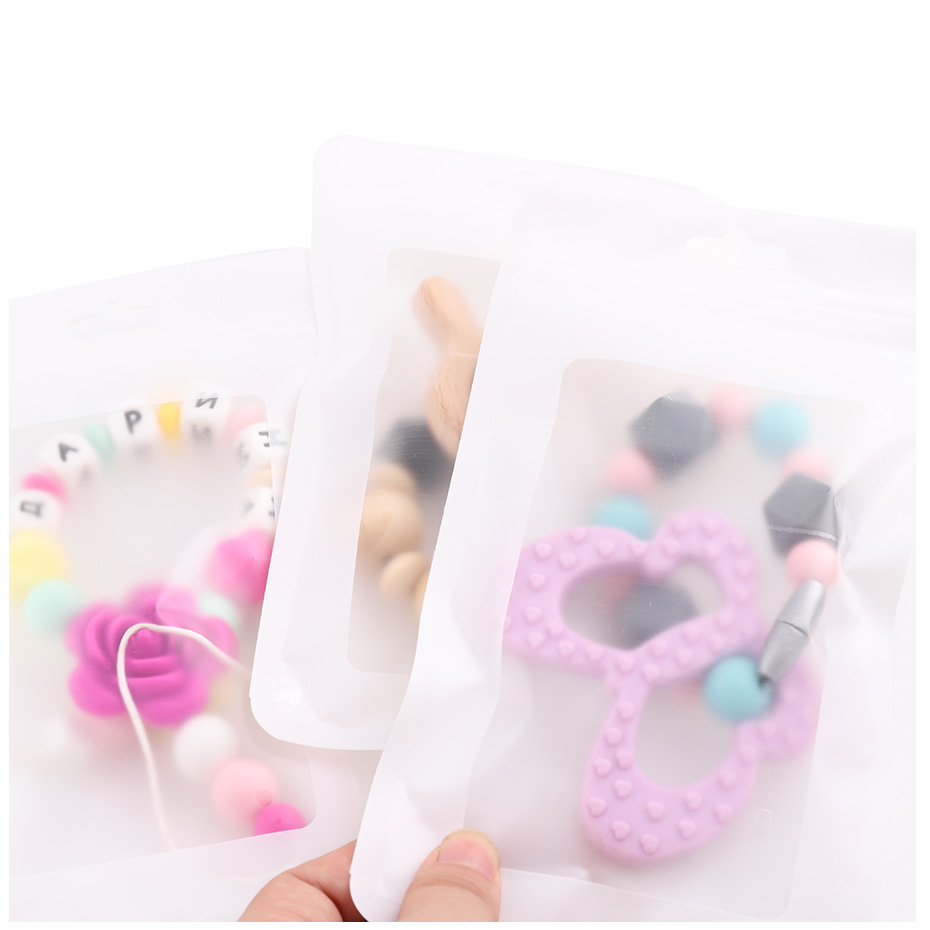 CHEWELRY 10pc Plastic White Bags White 11.5x19.5cm Display Bags Ecofriendly Baby Silicone Beads Package Jewelry Pendant Bags