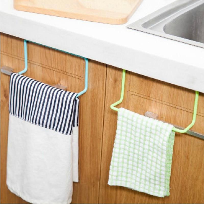 New 1Pc Over Door Tea Towel Holder Rack Bar Hook Bathroom Kitchen Top Home Organization Candy Colors Rail Cupboard Hanger