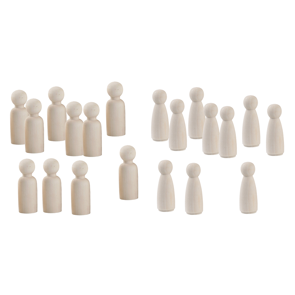 20 Pieces 2 Sizes Women/Men Unfinished Wooden Peg Dolls Wooden Tiny Doll Bodies People Decorations Blank Figurine