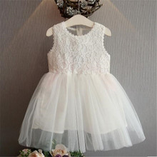 Kids Girl Lace Flower Dress Children Bridesmaid Elegant Tulle Formal Party