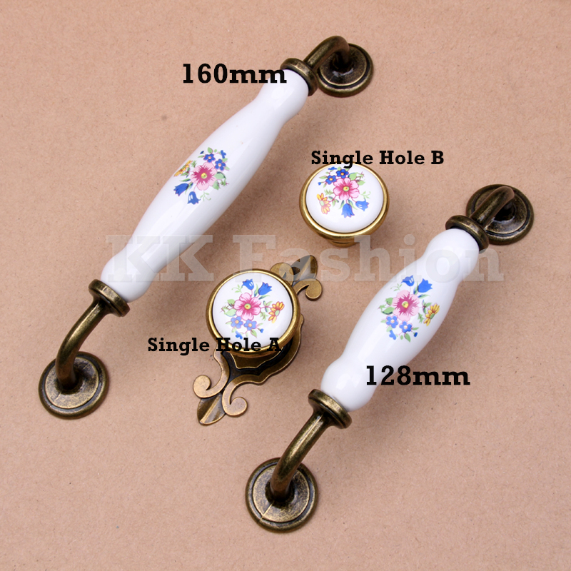 160mm/128mm/SH Vintage Ceramic Door Handles Flower White Bronze Kitchen Cabinet Wardrobe Cupboard Drawer Pull Furniture Knobs furniture drawer handles wardrobe door handle and knobs cabinet kitchen hardware pull gold silver long hole spacing c c 96 224mm