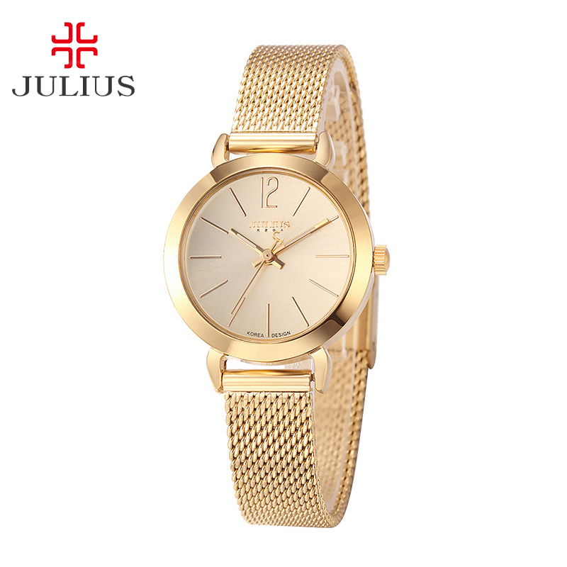 Top Julius Lady Kvinnors Watch Japan Quartz Eleganta Enkla Fashion Hours Korea Kedja Armband Chain School Girl Födelsedag Present Box