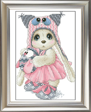 Robótki, DIY Cross Stitch, Zestawy do zestawów do haftu, 11CT i 14CT, Owl Rabbit