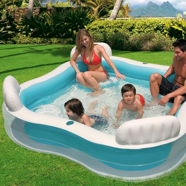 Intex 56475 Square Shape Swim Center Inflatable Family Lounge Pool With Backrest Cupholder And Four Inflatabe Seats