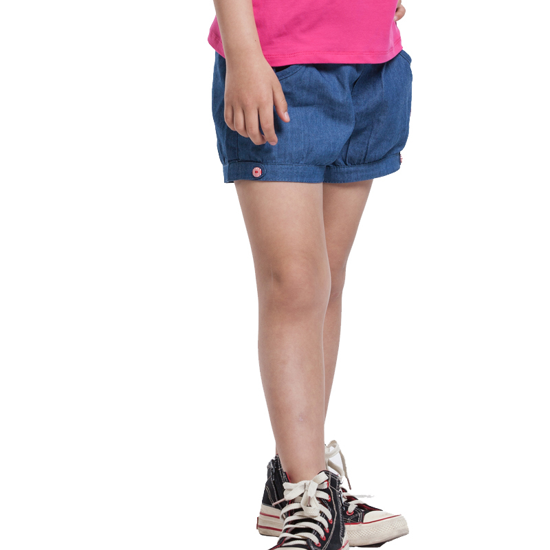 Kids Closet JJLKIDS Kids Girls Cotton PantsLight Blue Hot Short Pants Adj. Waist Size 5-14 Years