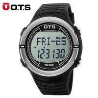 OTS Heart Rate Monitor Watch Sphygmograph Pulse Digital Clock Pedometer Countdown Waterproof Men Sports Watches for Running