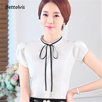 2017 Women S O Neck Petal Sleeve Bow Shirt Female Elegant Short Sleeve Work Wear Blouse