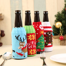 Wine Bottle Cover Bags Decoration Party Santa Claus Christmas Cap On Wine Bottle Xmas Day Favor Decor Acceessories EJ897793(China)
