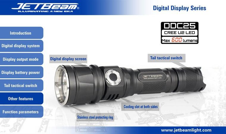 Free shipping JETBeam DDC25 Digital Display 18650 Cree XML U2 LED 600lms waterproof IPX-8 Camping Hiking Professional Flashlight sitemap 25 xml