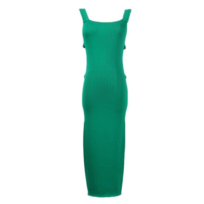 Tunjuefs Sexy Spaghetti Strap Dress Runway Summer Slim Backless Dress Women Pullovers Elegant Ruffles Robe Knit
