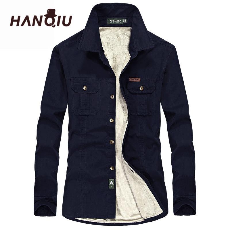 8bc358bc772 HANQIU зимние теплые рубашки для мужчин с длинным рукавом осень зима пальто  фланель Толстые Мужская классическая рубашка мода качество флис