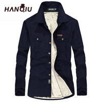 HANQIU Winter Warm Shirts Men Long Sleeve Autumn Winter Men Coat Flannel Thick Dress Shirts Fashion Quality Fleece Men Shirt