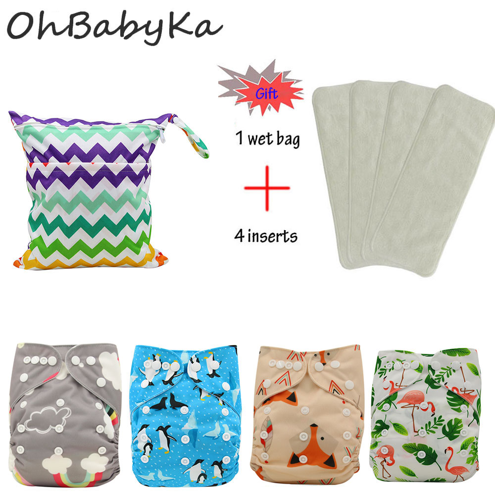 OhBabyKa 8Pack Reusable Infant Nappy Cartoon Baby Shower Gift Washable Baby Pocket Cloth Diaper Cover+ 3Layers Microfiber Insert