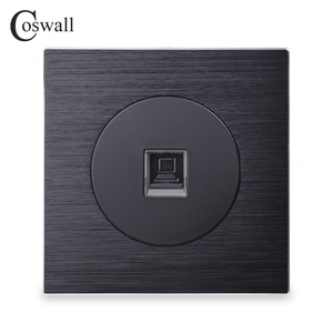 Coswall Luxurious RJ45 Internet Jack Aluminum Brushed Panel Computer Outlet Wall Data Socket Knight Black()