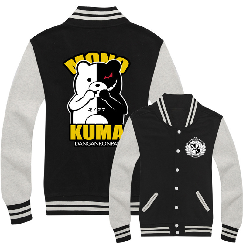Anime Danganronpa Monokuma Baseball Uniform Sweatshirt Cosplay Costumes Dangan Ronpa Men & Women Hoodie Daily Casual Jacket
