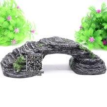 Dekoracyjny most Ornament krajobraz do akwarium, Turtle crawl Rock dekoracje z żywicy kamienny most łukowy do akwarium