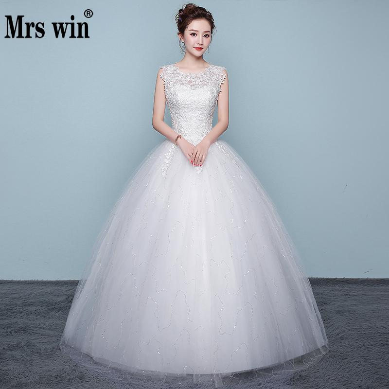 2020 New Wedding Dress Mrs Win Elegant O-neck Ball Gown Luxury Wedding Dresses Vestido De Noiva Plus Size Vestidos De Noiva F